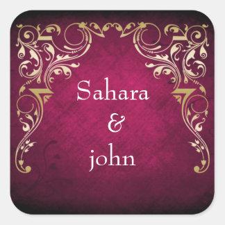 Sticker Carré Mariage ornemental majestueux rustique de fuchsia