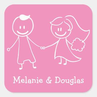 Sticker Carré Mariage rose et blanc de jeune mariée et de marié