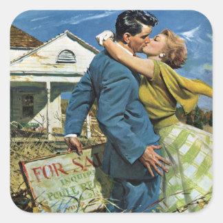 Sticker Carré Mariage vintage, Chambre d'achat de nouveaux