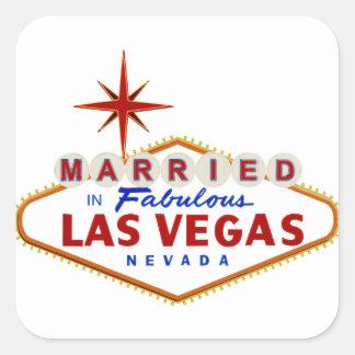 Sticker Carré Marié à Las Vegas fabuleux, enseigne au néon du
