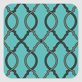 Sticker Carré Marocain bleu géométrique de treillis