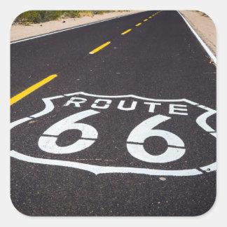 Sticker Carré Marqueur de route de l'itinéraire 66, Arizona