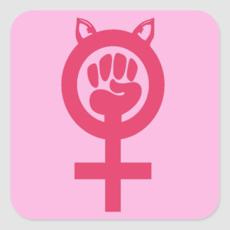 Sticker Carré Mars de poing de rose de chat des femmes