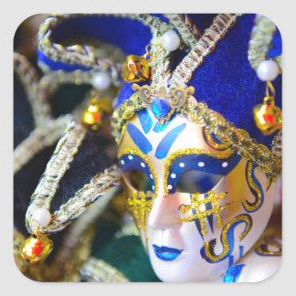 Sticker Carré Masques de mascarade de carnaval à Venise Italie