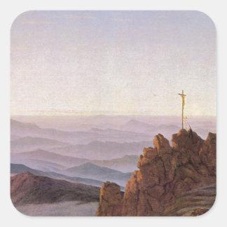 Sticker Carré Matin dans Riesengebirge - Caspar David Friedrich