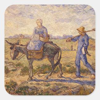 Sticker Carré Matin de Vincent van Gogh |, sortant pour
