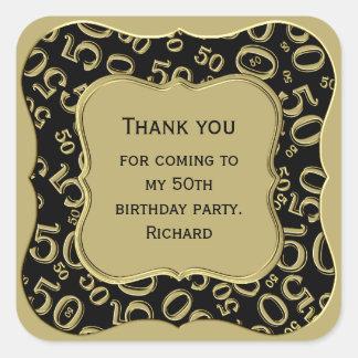 Sticker Carré Merci - cinquantième noir d'anniversaire et partie