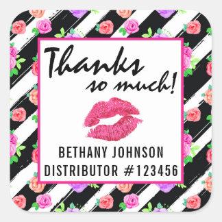 Sticker Carré Merci de baiser de rose de charme de distributeur