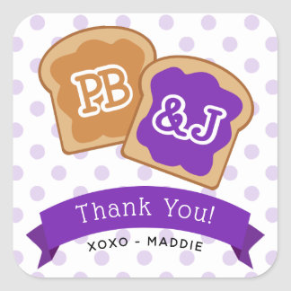 Sticker Carré Merci de cadeau de beurre et de gelée d'arachide