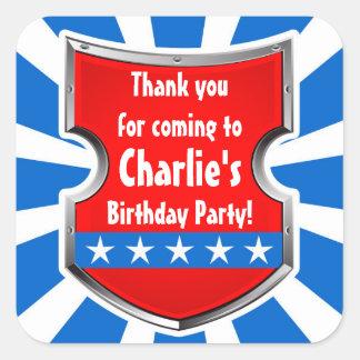 Sticker Carré Merci de partie d'anniversaire de enfant de