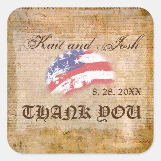 Sticker Carré Merci de patriote des Etats-Unis de déclaration