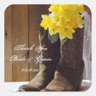 Sticker Carré Merci occidental de mariage de bottes de cowboy de