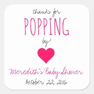 Sticker Carré Merci pour sauter par !  Faveurs de baby shower -