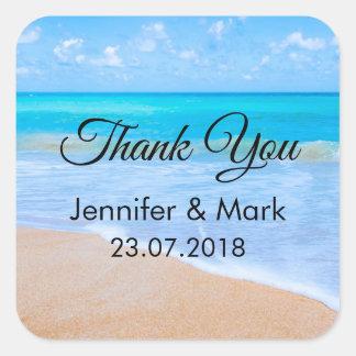 Sticker Carré Merci tropical de photo de scène de plage