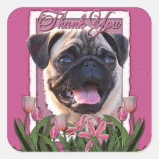 Sticker Carré Merci - tulipes roses - carlin