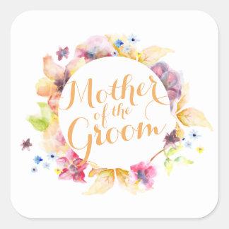 Sticker Carré Mère de l'autocollant de mariage d'aquarelle de