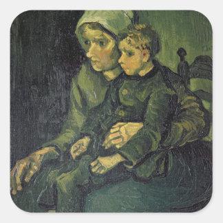 Sticker Carré Mère de Vincent van Gogh | et enfant, 1885