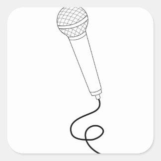 Sticker Carré Microphone avec le fil