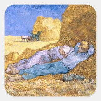 Sticker Carré Midi de Vincent van Gogh  , la sièste, après