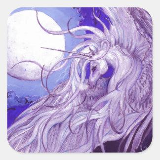 Sticker Carré Mignon pourpre magique de lune de licorne de noir