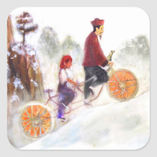 Sticker Carré MIRIAM - Liu Xiang's tandem cycle