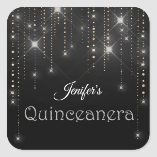 Sticker Carré Miroite l'autocollant nommé de quinceanera