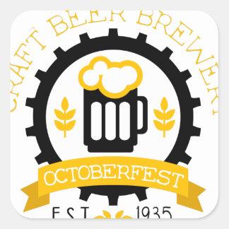 Sticker Carré Modèle de conception de logo de bière avec la