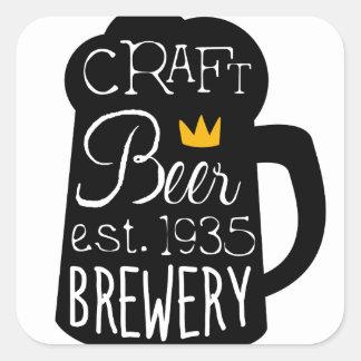 Sticker Carré Modèle de conception de logo de bière de métier