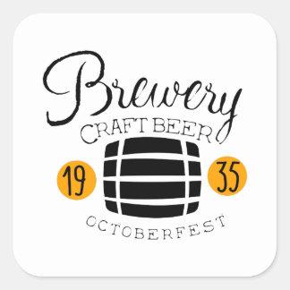 Sticker Carré Modèle de conception de logo de brasserie avec le