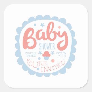 Sticker Carré Modèle de conception d'invitation de baby shower
