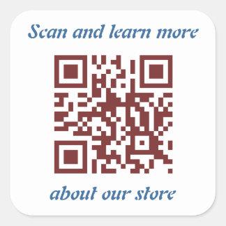 Sticker Carré Modèle de l'information du magasin de code de QR