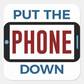 Sticker Carré Moins de téléphone plus de contact humain de