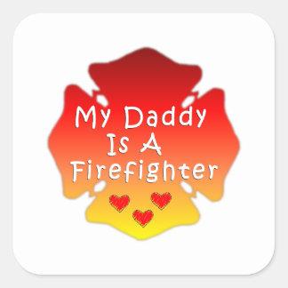 Sticker Carré Mon papa est un sapeur-pompier