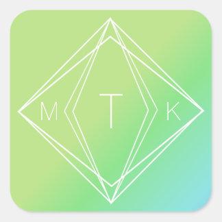 Sticker Carré Monogramme géométrique moderne | vert, gradient