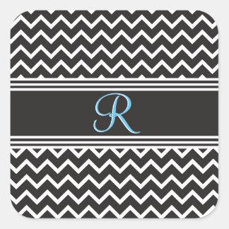 Sticker Carré Monogramme gothique blanc de zigzag du noir |