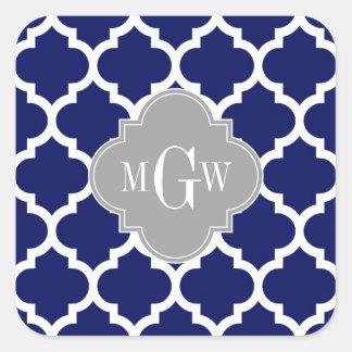 Sticker Carré Monogramme initial du gris 3 blancs du Marocain #5