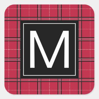 Sticker Carré Monogramme moderne de plaid noir rouge rustique de
