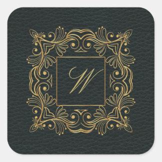 Sticker Carré Monogramme ornemental de cadre sur le cuir foncé