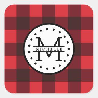 Sticker Carré Monogramme rouge de nom de bûcheron de plaid de