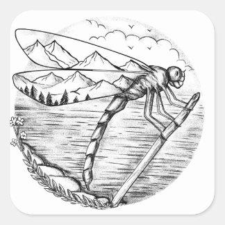 Sticker Carré Montagne de libellule à l'intérieur de tatouage