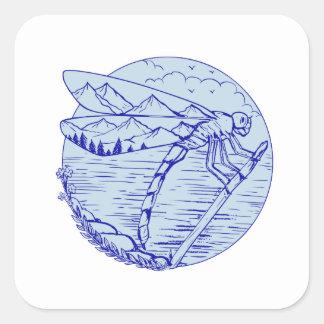 Sticker Carré Montagnes de libellule dans le dessin d'ailes