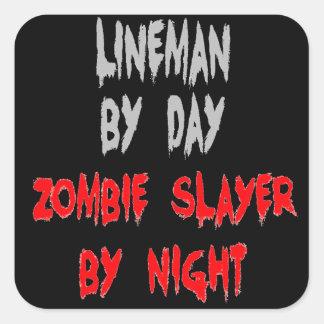 Sticker Carré Monteur de lignes de tueur de zombi