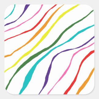 Sticker Carré Motif abstrait coloré de rayures