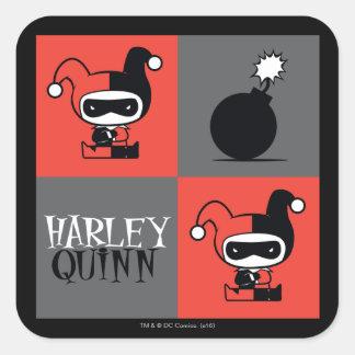Sticker Carré Motif de contrôleur de Chibi Harley Quinn