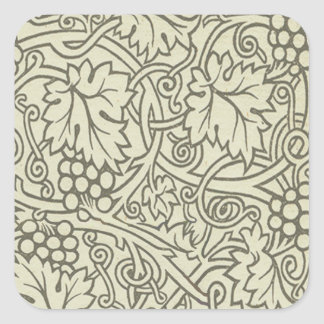 Sticker Carré Motif de Grapevile William Morris de vert sauge