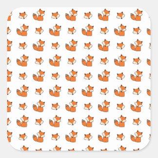 Sticker Carré motif de renards rouges
