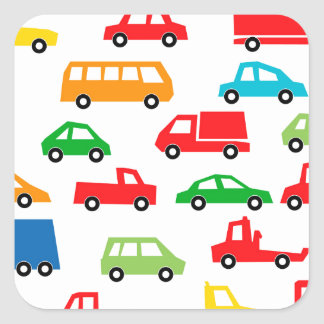 Sticker Carré motif de voiture de jouet - illustration