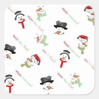 Sticker Carré Motif lunatique de bonhomme de neige de Noël