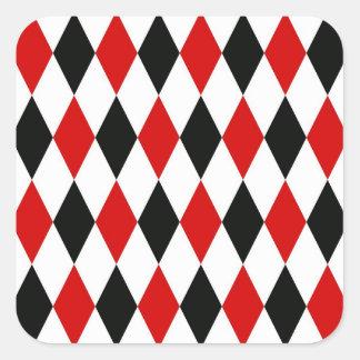Sticker Carré Motif noir blanc rouge de diamant de harlequin