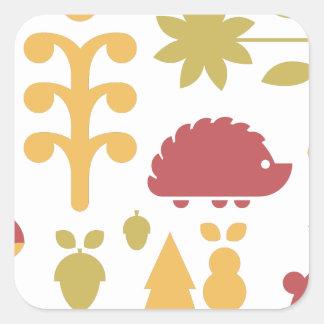 Sticker Carré Motif sans couture d'automne avec la forêt